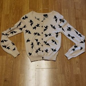 Cropped novelty bird print cardigan sz 4